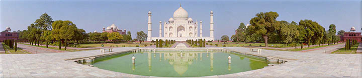 TajMahal, India - panoramic view from the Celestial Pool of Abundance